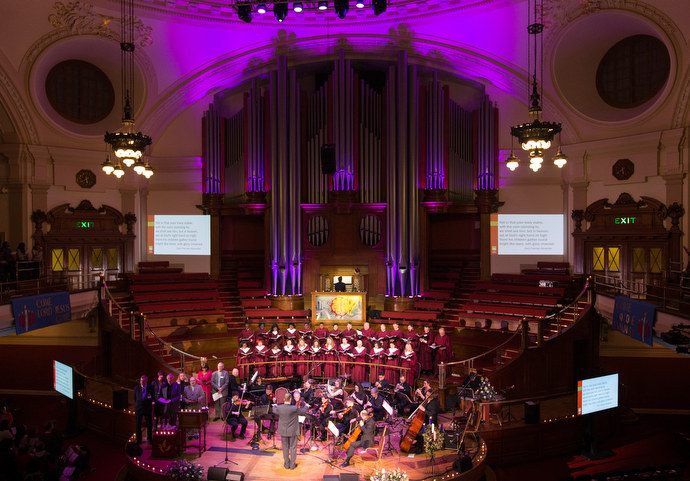 Methodist Central Hall, Westminster in London hosts a traditional carol service during Advent. The hall was built to mark the centenary of John Wesley's death and hosted the first meeting of the United Nations General Assembly in 1946.