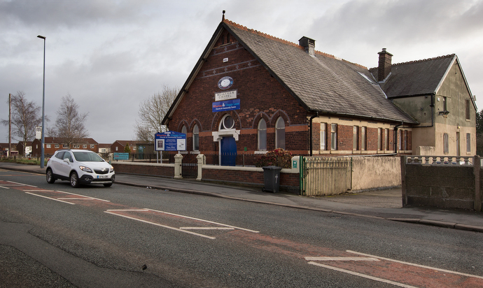 The former Cleggs Lane Methodist Church in Little Hulton, England, is now used for programs and worship space for the Wharton and Cleggs Lane Church and Community Centre — a local partnership between the Methodists and Wharton, a United Reformed congregation. Fundraising for a new facility is underway. Photo by Mike DeBose, UMNS.
