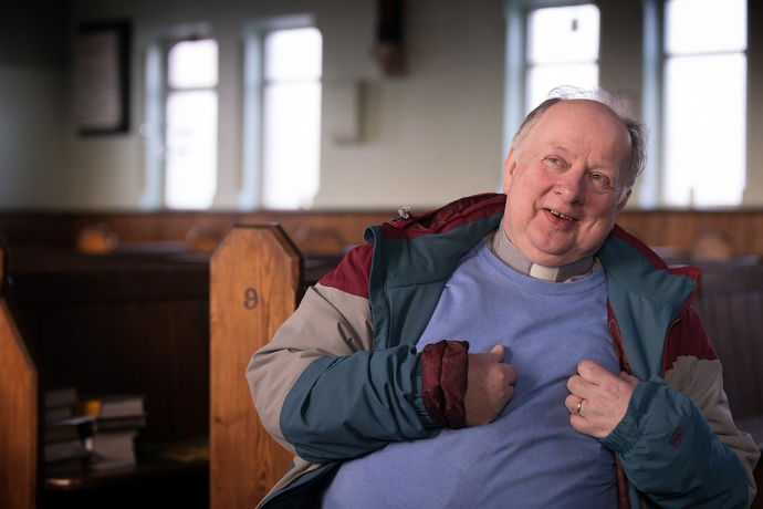 """The Rev. Stuart Wild is the new Methodist minister of Wharton and Cleggs Lane Church and Community Centre in Little Hulton, England, one of the poorest areas of Salford, Greater Manchester, but a place, he says, """"with a great desire for community."""" Photo by Mike DuBose, UMNS."""
