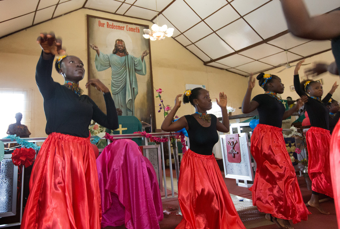 Liturgical dancers help lead worship at Tubman Memorial United Methodist Church in Monrovia, Liberia, in 2017. File photo by Mike DuBose, UMNS.