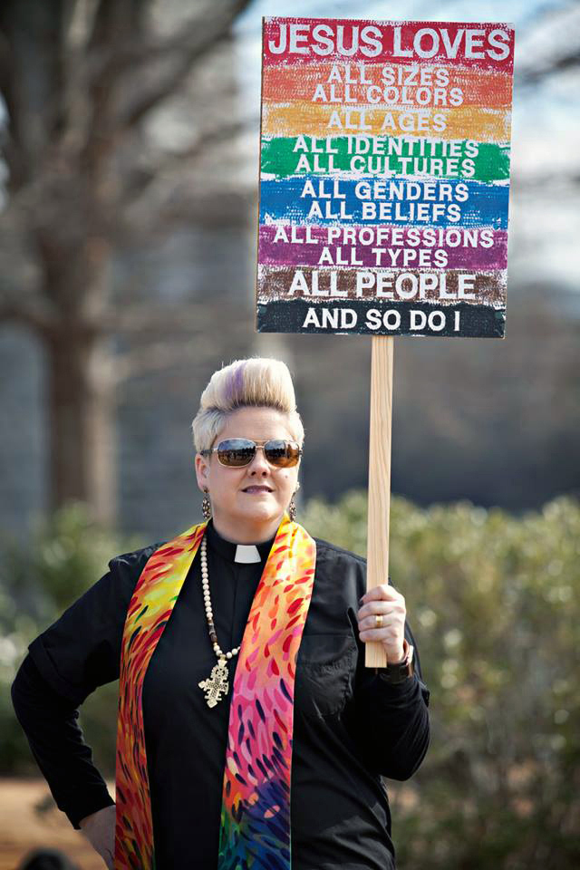 Anna Golladay, seen here participating in the 2017 Women's March, was fired for performing a same-sex wedding of two congregants. Golladay was a licensed local pastor serving at St. Marks and St. Elmo United Methodist churches in Chattanooga, Tenn. Photo courtesy of Reconciling Ministries Network.