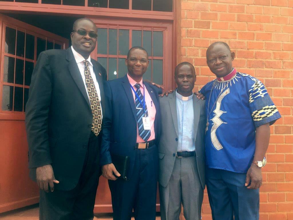 Some of the church leaders who helped heal divisions in The United Methodist Church in Burundi are, from left: Bishop Daniel Wandabula, Zephirin Ndikumana, the Rev. Jean Ntahoturi and Bishop John K. Yambasu. Photo by Tafadzwa Mudambanuki, UMNS.