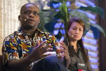 Isaac Broune (left) and April Gonzaga-Mercado lead a panel discussion on using communications as aid as part of the Game Changers Summit at the Opryland Hotel in Nashville, Tenn. Photo by Mike DuBose, UMNS