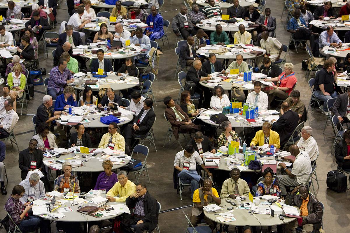 Delegates work at the 2012 General Conference in Tampa, Fla. A UMNS photo by Mike DuBose.