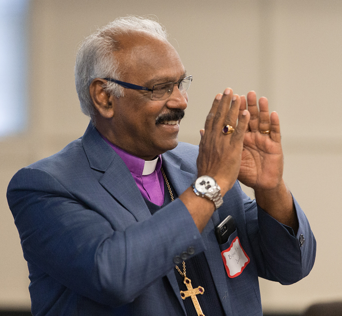 Bishop M. A. Daniel of the Methodist Church in India speaks about ministries there during a presentation at the Upper Room in Nashville, Tenn. Photo by Mike DuBose, UMNS.