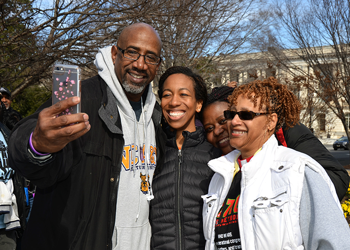 The Rev. Joe Daniels (starting left to right), Emory United Methodist Church in Washington, Jeania Ree Moore, the director for Civil and Human Rights at the United Methodist Board of Church and Society, Sharon Milton, Youth Director at Emory United Methodist Church in Washington, and the Rev. Johnsie Cogman, pastor at Mt. Zion United Methodist Church in Georgetown. Photo by Erik Alsgaard.