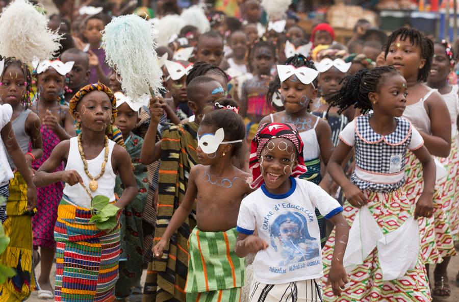Children celebrate Mardi Gras at the United Methodist Koumassi School in Abidjan, Côte d'Ivoire. Promoting unity across denominational and religious lines is a core mission in the country's United Methodist schools where civil strife is a recent national memory. Photo by Mike DuBose, UMNS.
