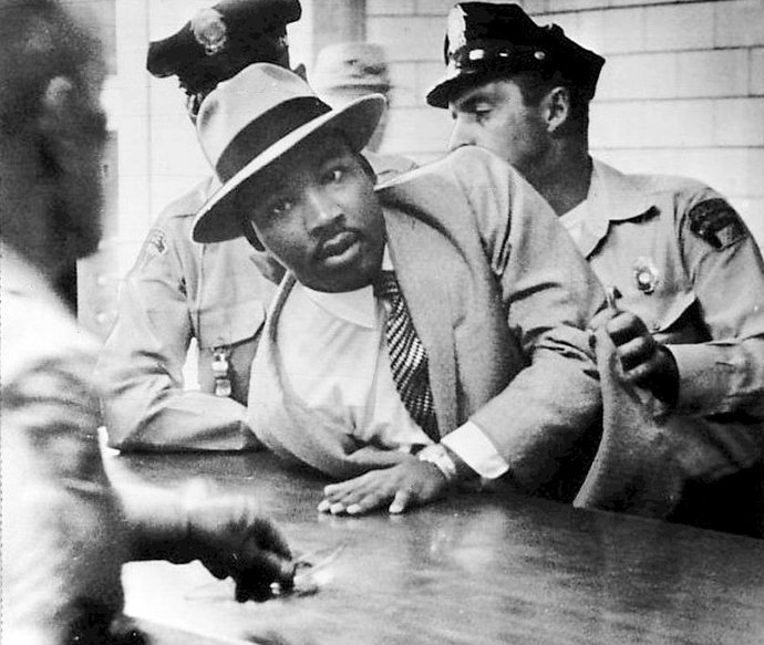 The Rev. Martin Luther King Jr. is arrested in Montgomery, Alabama, for