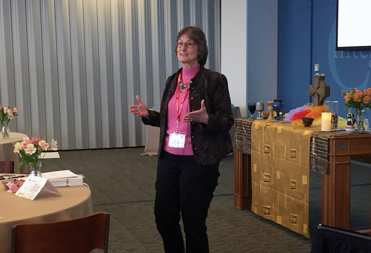 Bishop Sandra L. Steiner Ball speaks during the April 2018 meeting of the Connectional Table. The meeting addressed the Way Forward Commission's work and the worldwide nature of the church. Photo by Heather Hahn, United Methodist News Service.