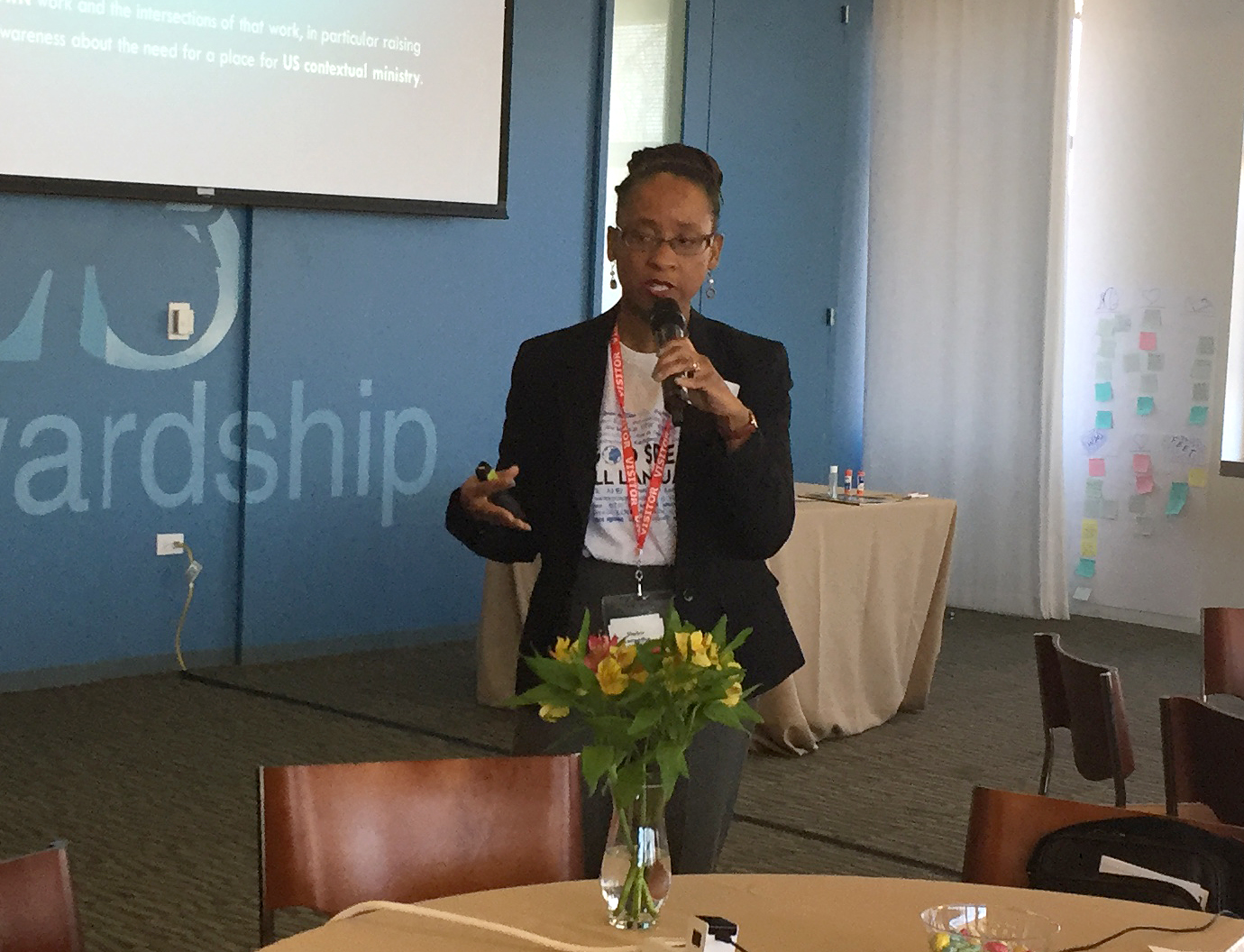 The Rev. Kennetha J. Bigham-Tsai speaks during the April 2018 meeting of the Connectional Table in Chicago. The meeting brought her on board as the body's chief connectional ministries officer. Photo by Heather Hahn, UMNS.