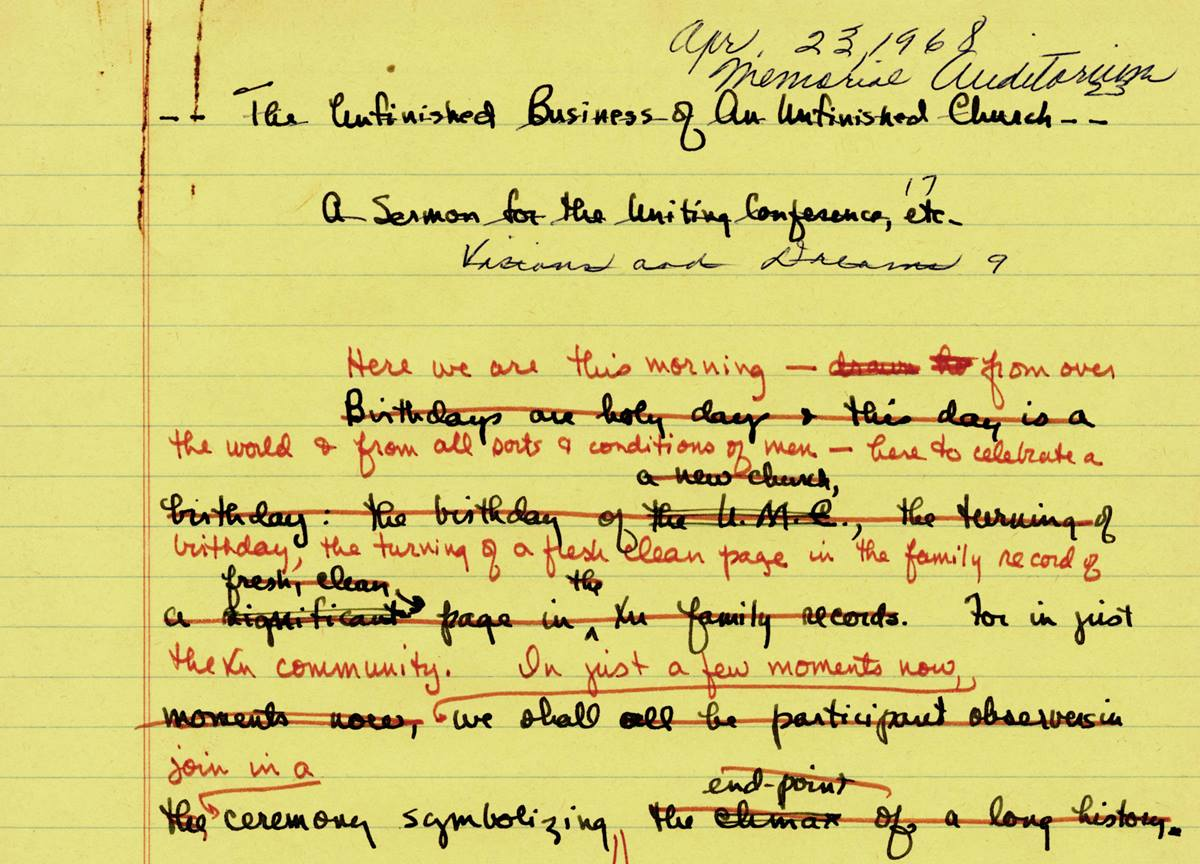 The Rev. Albert C. Outler's papers at Bridwell Library include a draft of the sermon he preached on April 23, 1968, during the uniting service of the Uniting Conference, officially creating The United Methodist Church. Photo courtesy of Bridwell Library Special Collections, Perkins School of Theology, Southern Methodist University.