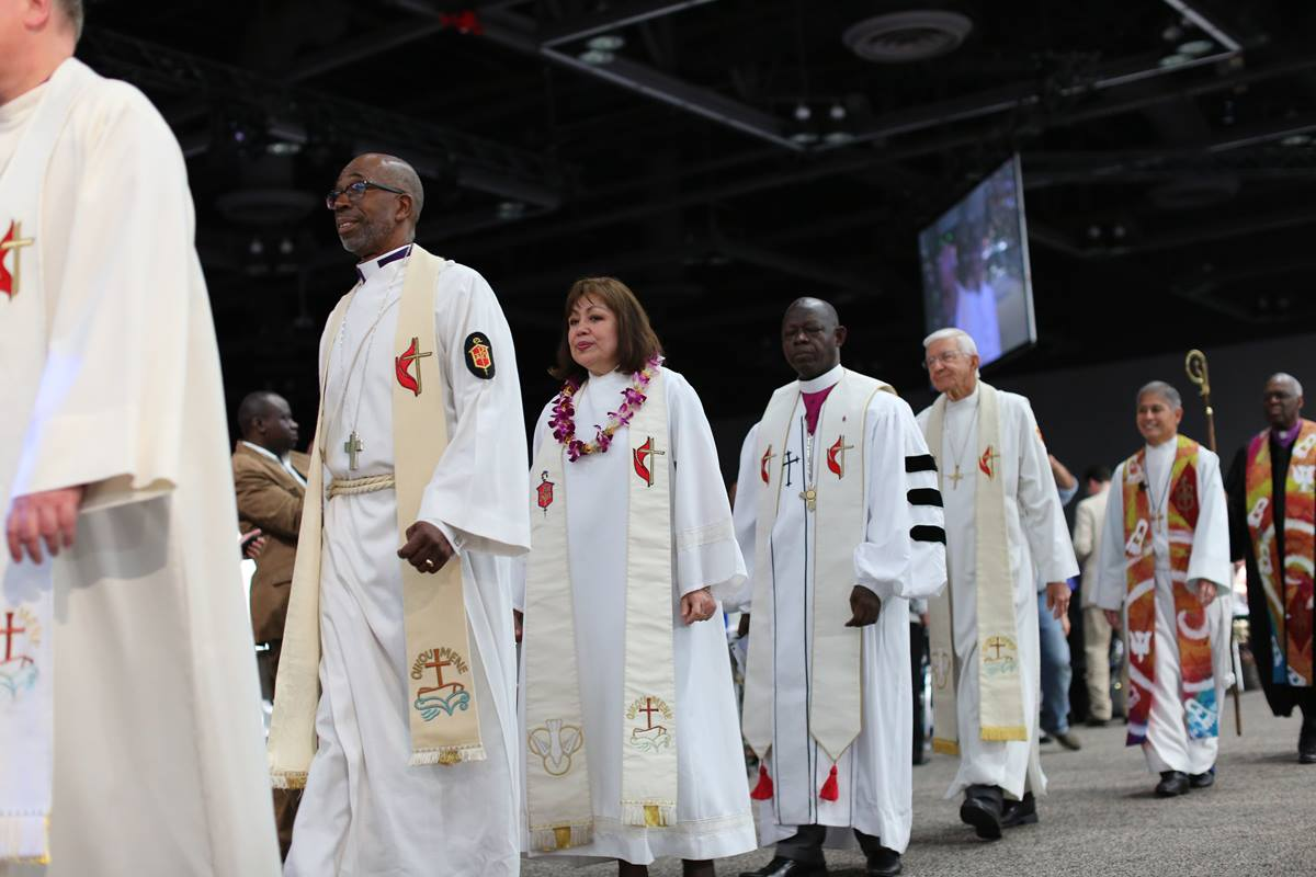 Bishops process during the May 10 opening of the 2016 United Methodist General Conference in Portland, Ore. The Council of Bishops asked the Judicial Council to hold a special session this spring and the denomination's top court has agreed. File photo by Kathleen Barry, UMNS.