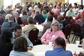 Some 200 clergy and laity of the North Texas Conference's Metro District gathered April 12, 2018, at First United Methodist Church in Richardson, Texas, for a briefing by Bishop Mike McKee on the work of the Commission on a Way Forward. Photo by Sam Hodges, UMNS