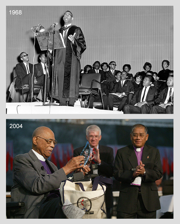 Above: Methodist Bishop James S. Thomas speaks during the 1968 Uniting Conference. Photo courtesy of the United Methodist Commission on Archives and History. Below: United Methodist Bishop James S. Thomas (left) is honored by the denomination's 2004 General Conference in Pittsburgh for the contributions he made in the former Central Jurisdiction of the church. Applauding Thomas are Charles Yrigoyen (left), top staff executive of the church's Commission on Archives and History, and Bishop Solito Kuramin Toquero. File photo by Mike DuBose, UMNS.