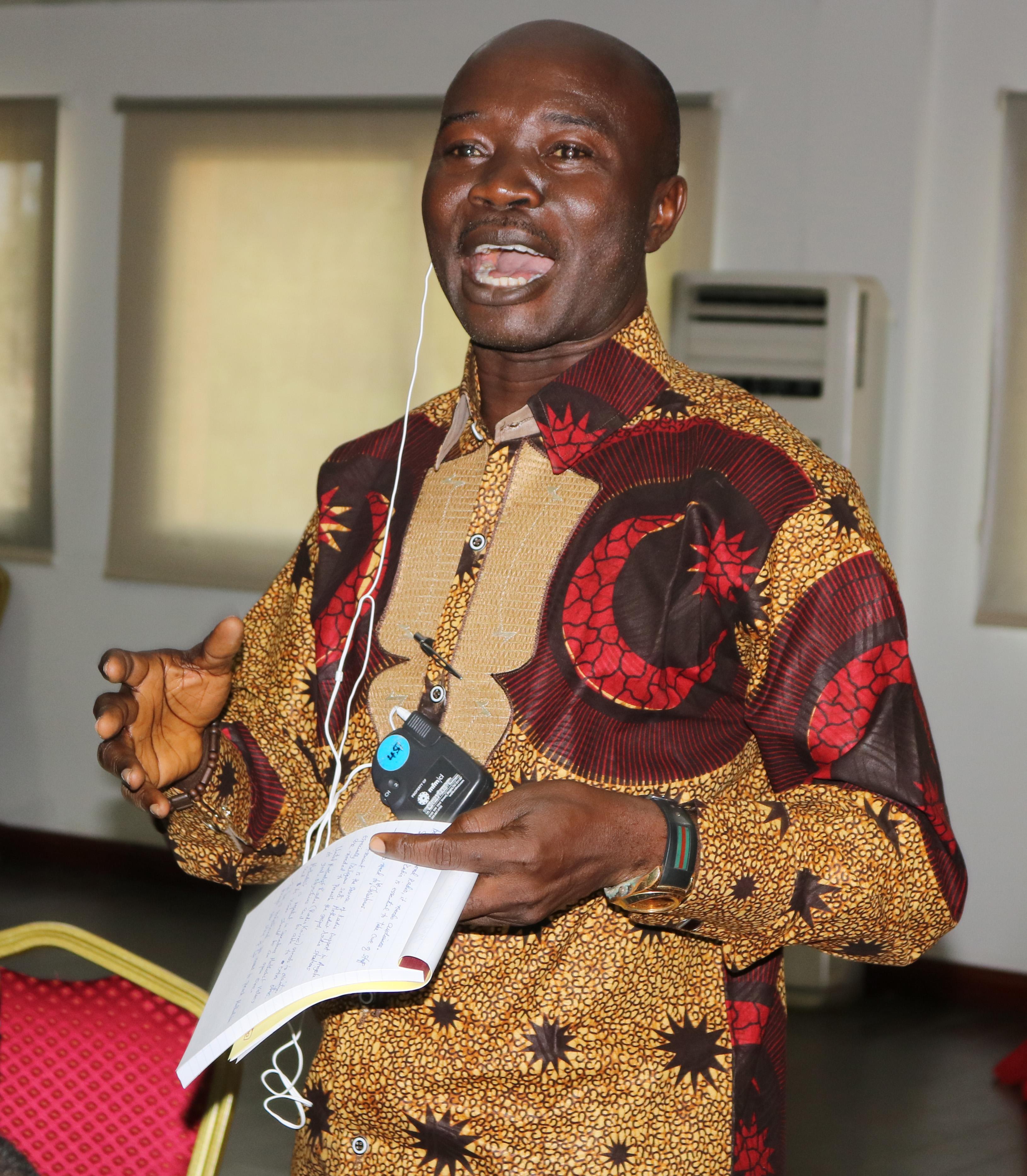 Edward Lahai Massaquoi speaks during the United Methodist Radio Network meeting in Luanda, Angola, April 24-26, 2018. Photo by Taurai Emmanuel Maforo, UMNS.