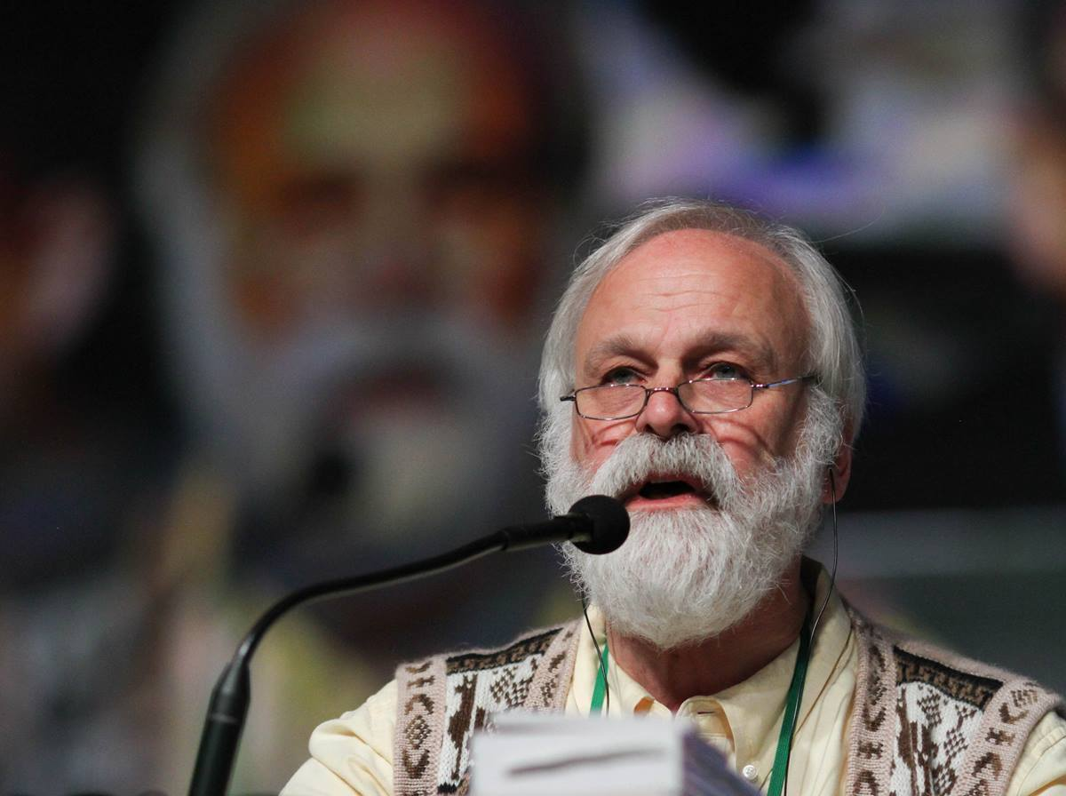 The Rev. Gere Reist, Secretary of the General Conference, speaks to delegates during the May 14 plenary session of the United Methodist 2016 General Conference in Portland, Ore.