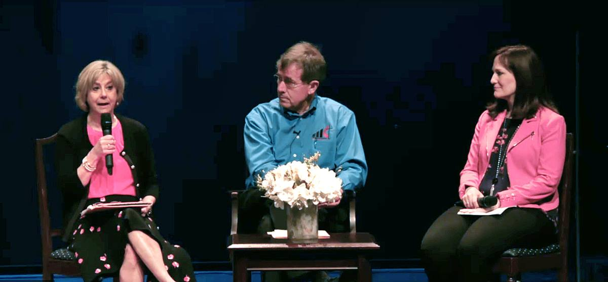 Screen shot from a livestream Q&A held by Bishop Scott Jones with members of the Texas Conference. From left, Leah Taylor, member of the Commission on a Way Forward, Bishop Scott Jones, and the Rev. Jessica LaGrone, also a commission member. Photo courtesy of the Texas Conference.