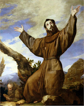 St. Francis has been widely painted in prayer and blessing animals. This oil painting by Jusepe de Ribera was created in 1642 and is titled