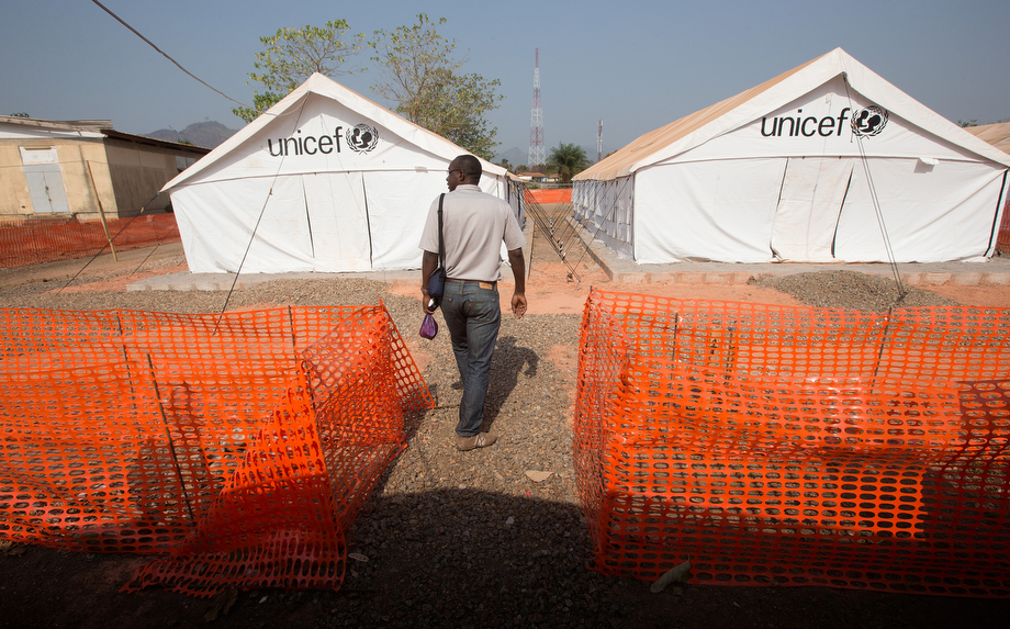 Dr. Simplice Adouko checks on the readiness of an isolation camp established in Man to receive any potential patients with Ebola.