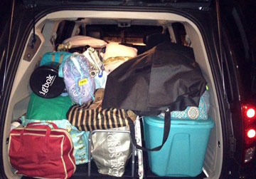 As a college senior this year at Birmingham Southern College, Shannon Thompson has learned how to expertly fit her home life into the back of the family van. A web-only photo by Shannon Thompson.