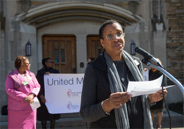 On International Women's Day, Jocelyn Briddell participates in a march to end violence against women worldwide at Scarritt-Bennett Center, Nashville, Tenn. Photo by Mike DuBose.