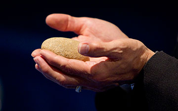 Participants in the Act of Repentance toward Healing Relationships with Indigenous Peoples at the 2012 United Methodist General Conference in Tampa, Fla., were encouraged to select a stone from the River of Life as a symbol of their continuing commitment to