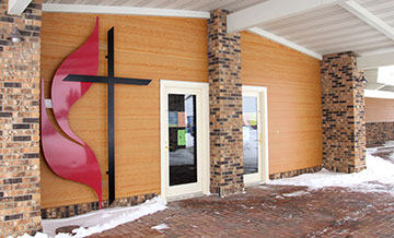 The congregation of Faith United Methodist Church in Minot, N.D., worshipped in their new-to-them building for the first time in October 2012. A UMNS photo by Lisa Eriksmoen.