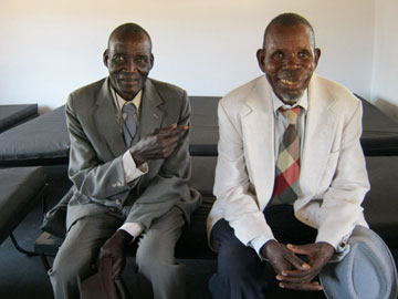 Richard Denhere and Jackson Munatsi express their happiness with the new shelter.