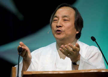 Bishop Hee-Soo Jung gives the sermon during morning worship at the 2008 United Methodist General Conference in Fort Worth, Texas.  A UMNS  file photo by Mike DuBose.