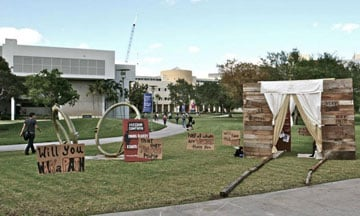 A walk-through brothel is part of an interactive experience on the Florida campus.