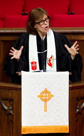 Bishop Debra Wallace-Padgett gives the sermon during worship.
