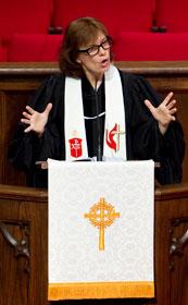 Bishop Debra Wallace-Padgett gives the sermon during worship.