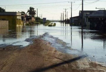 Xai-Xai city street is under water after flooding in Mozambique.