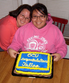 Sunrise Ross (left) celebrates her daughter's acceptance into Oklahoma City University. Photo by Nikki Ross.