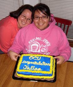Sunrise Ross (left) celebrates her daughter's acceptance into Oklahoma City University. Photo by Nikki Ross.