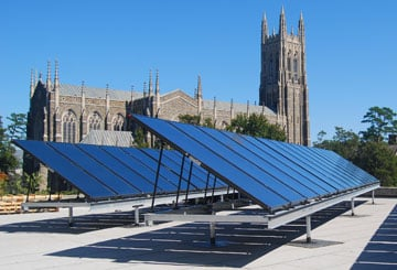 Solar panels on Duke University's student center provide approximately 40% of the hot water for the building.
