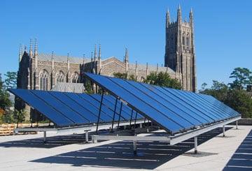 Solar panels on Duke University's student center provide approximately 40% of the hot water for the building.