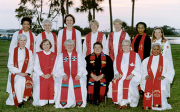 Bishop Leontine Kelly (fourth from left) is pictured with her fellow 12 women bishops at a 2000 Council of Bishops' meeting in St. Simons Island, Ga. A UMNS file photo by J. David Miller.