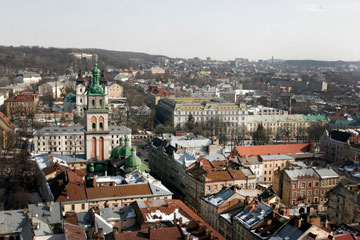 The skyline of L'viv, Ukraine, shows the area near the roof collapse. L'viv will celebrate its 756th anniversary this September.