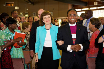 Bishop Debra Wallace-Padgett walks with Bishop James R. King Jr. immediately after her election on July 19 by the Southeastern Jurisdictional Conference. Photo courtesy of Lake Junaluska Conference and Retreat Center.