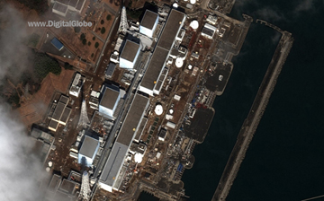 An aerial view of the Fukushima Daiichi Nuclear Power Plant after the 2011 earthquake/tsunami in northern Japan. A web-only photo courtesy of Digital Images.