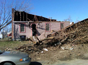 Dozens of homes were damaged in Harveyville, Kan.