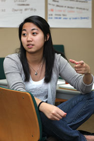 Team member Karyn Kuan expresses an opinion during a Spark12 planning session.