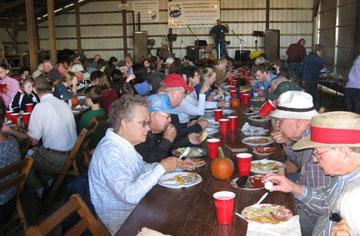 More than a hundred people dine together after a service at Fairfax United Methodist Church. A web-only photo courtesy Don Johnson.