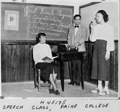 An archived photo depicts a speech class at Paine College in Augusta, Ga. Photo courtesy of the Commission on Archives and History.