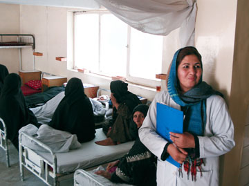 A nurse watches over patients at an eye hospital in Kabul, Afghanistan. Eye care is one of the health services that relief groups offer in Afghanistan. A UMNS file photo by David Wildman.