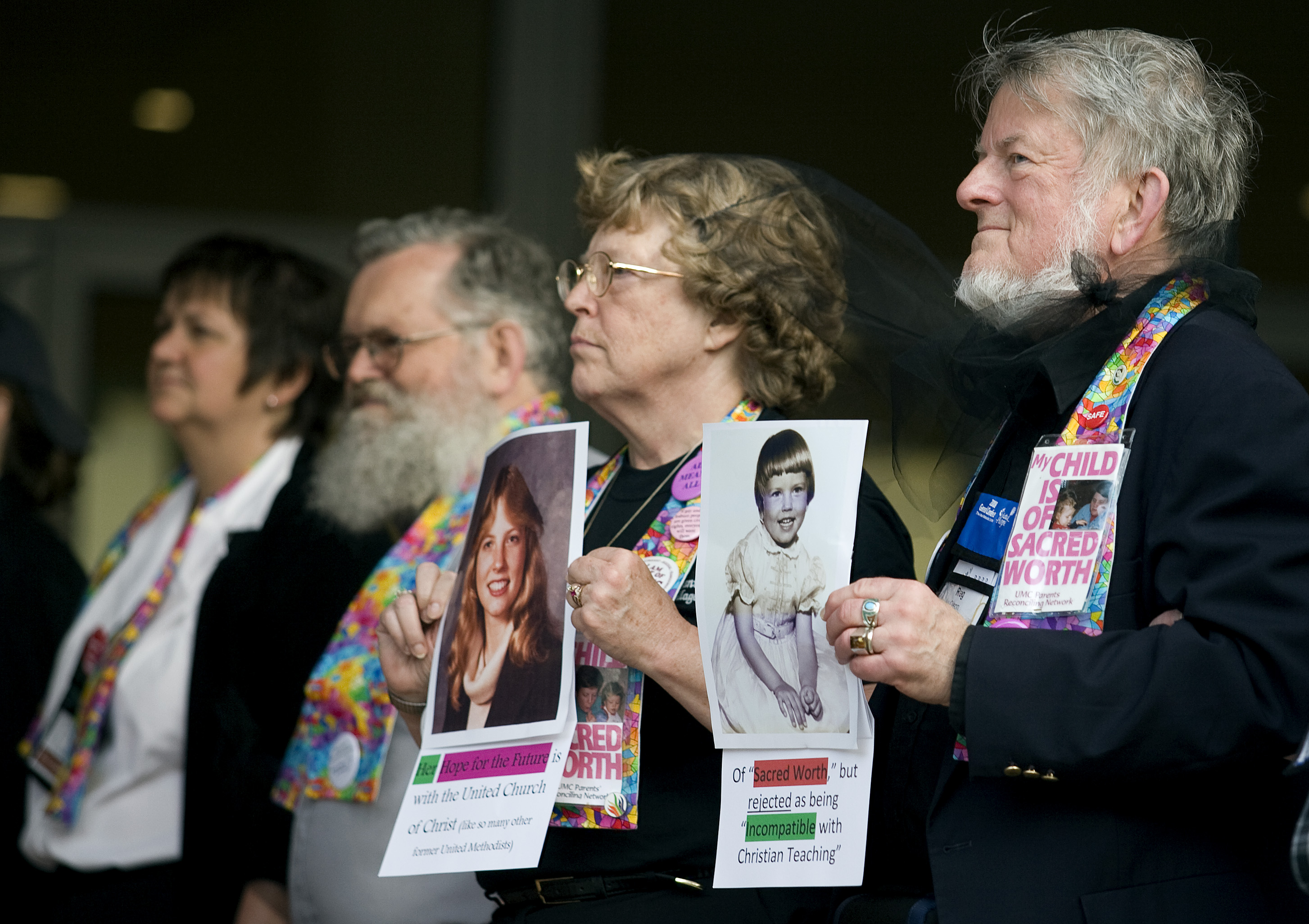 Supporters of gay rights protest church rulings during the 2008 United Methodist General Conference. A UMNS file photo by Mike DuBose.