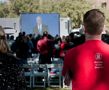 Students watch a simulcast of the groundbreaking ceremony. Photo courtesy of SMU/Clayton T. Smith.