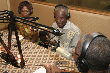 A panel of experts discuss marital issues on one of several talk-show programs airing on La Voix De L'Esperance the Voice of Hope radio station in Abidjan.
