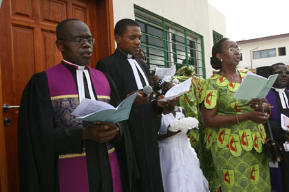 The Jubilee United Methodist Church Choir, led by Serge Melloh, sings during the consecration of The Voice of Hope radio station in Abidjan, Côte d'Ivoire. UMNS photos by Tim Tanton.